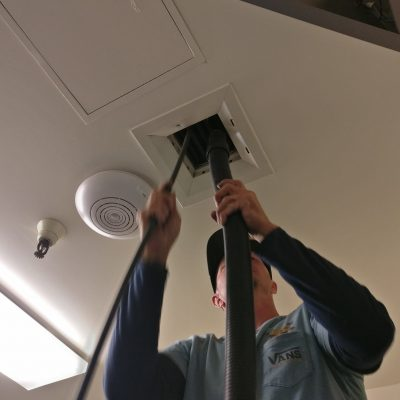 Air duct cleaning with hose